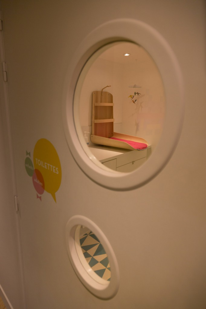 The rest room (seen from outside) kitted with a foldable changing table